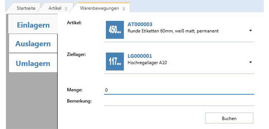 Screenshot etimark Lagerverwaltungssoftware